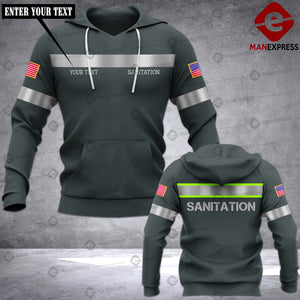 Personalized Sanitation Worker 3D printed hoodie KDP