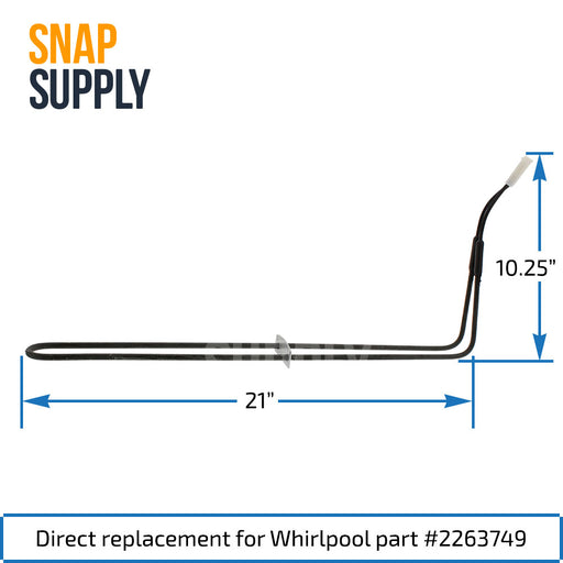 2263749 Defrost Heater for Whirlpool - Snap Supply -Refrigerator Parts and Accessory [Product_Sku]