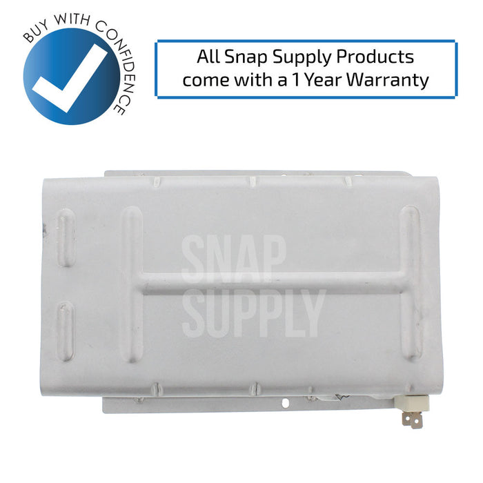 "Dryer heating element with text ""All Snap Supply products come with a 1 year warranty."""
