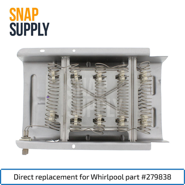 "Dryer heating element with text ""Direct replacement for Whirlpool part #279838"""