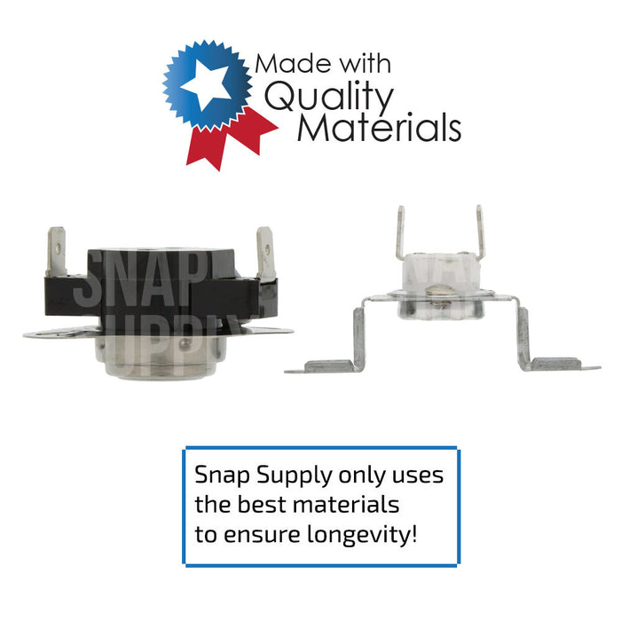"Dryer thermal fuse with text ""Snap Supply only uses the best materials to ensure longevity."""