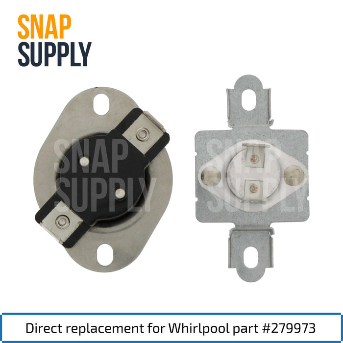 "Dryer thermal fuse with text ""Direct replacement for Whirlpool part #279973."""