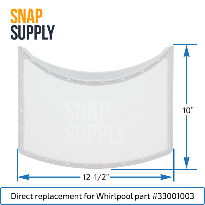 33001003 Dryer Lint Filter for Whirlpool - Snap Supply -Dryer Parts and Accessory [Product_Sku]