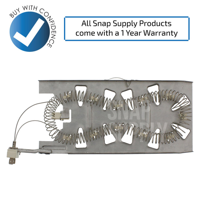 "Dryer element with text ""All Snap Supply products come with a 1 year warranty."""