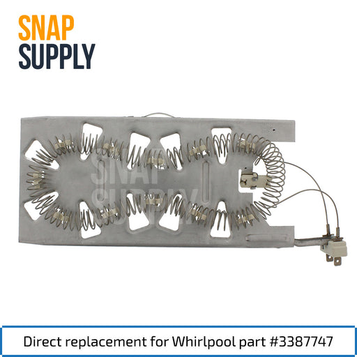 "Dryer element with text ""Direct replacement for Whirlpool part #3387747"""