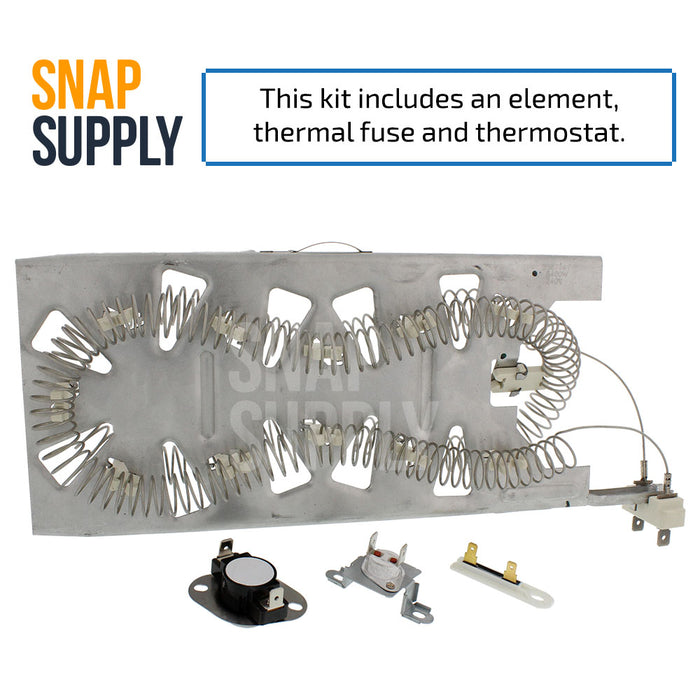 "Dryer element & thermostat kit with text ""this kit includes element and thermostat"""