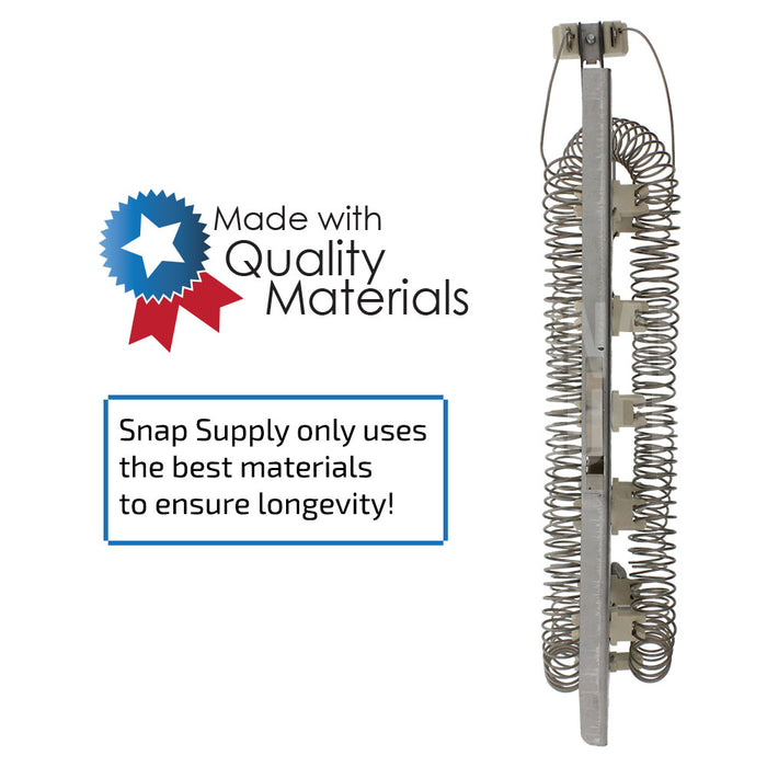 "Dryer element with text ""Snap Supply only uses the best materials to ensure longevity."""
