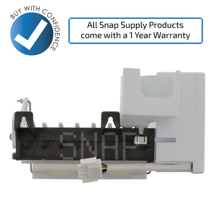 "Ice maker with text ""All Snap Supply products come with a 1 year warranty"""