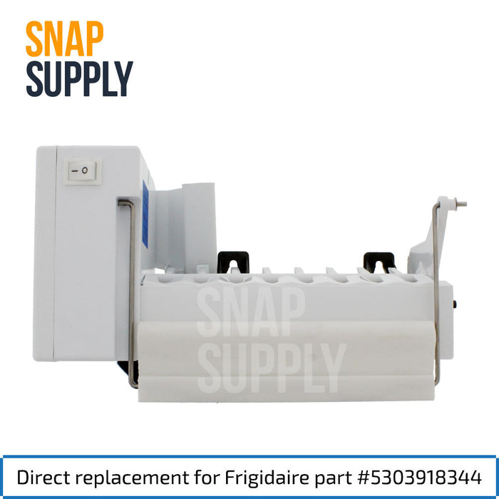 "Ice maker with text ""Direct replacement for Frigidaire part #5303918344"""
