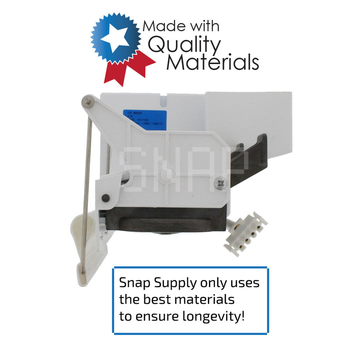 "Ice maker with text ""Snap Supply only uses the best materials to ensure longevity"""
