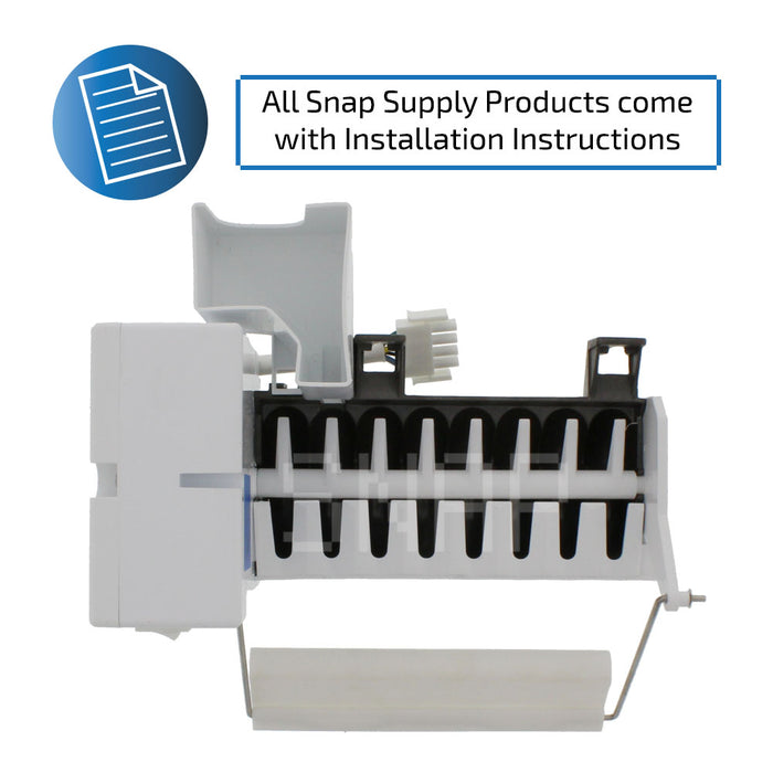 "Ice maker with text ""All Snap Supply products come with installation instructions"""