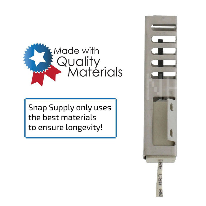 "Oven igniter with text ""Snap Supply only uses the best materials to ensure longevity."""