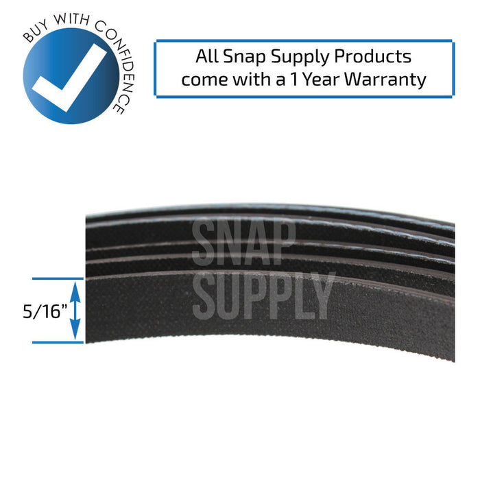 "Dryer belt with text ""All Snap Supply products come with a 1 year warranty"""