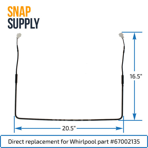 67002135 Defrost Heater for Whirlpool - Snap Supply -Refrigerator Parts and Accessory [Product_Sku]