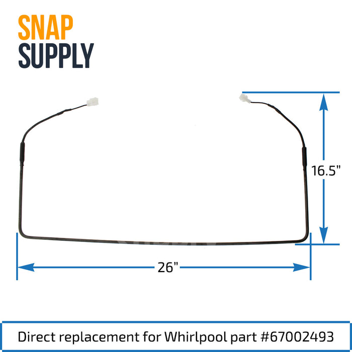 67002493 Defrost Heater for Whirlpool - Snap Supply -Refrigerator Parts and Accessory [Product_Sku]
