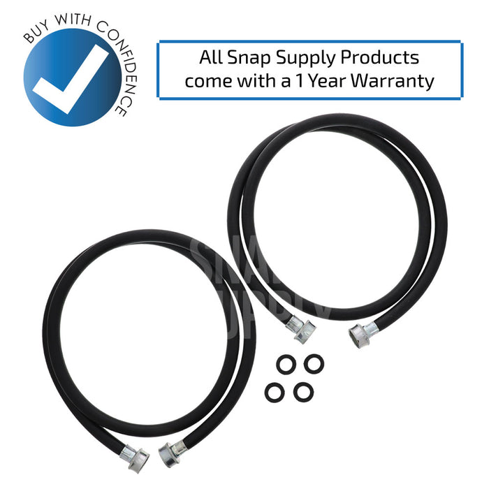8212641RP 5-Feet Black Rubber Washer Inlet Hose (2 Pack) for Whirlpool