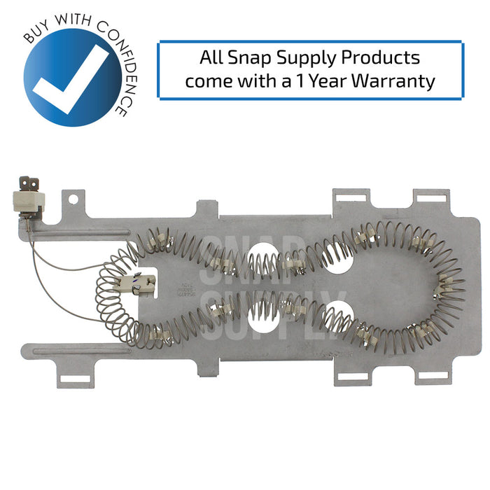 "Dryer element with text ""All Snap Supply products come with a 1 year warranty!"""