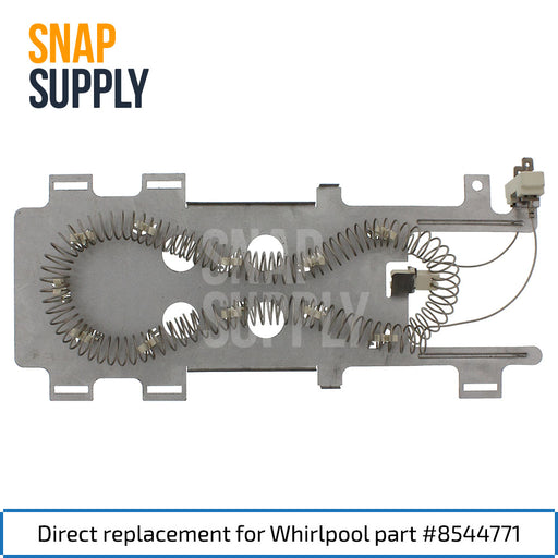 "Dryer element with text ""Direct replacement for Whirlpool part #8544771"""