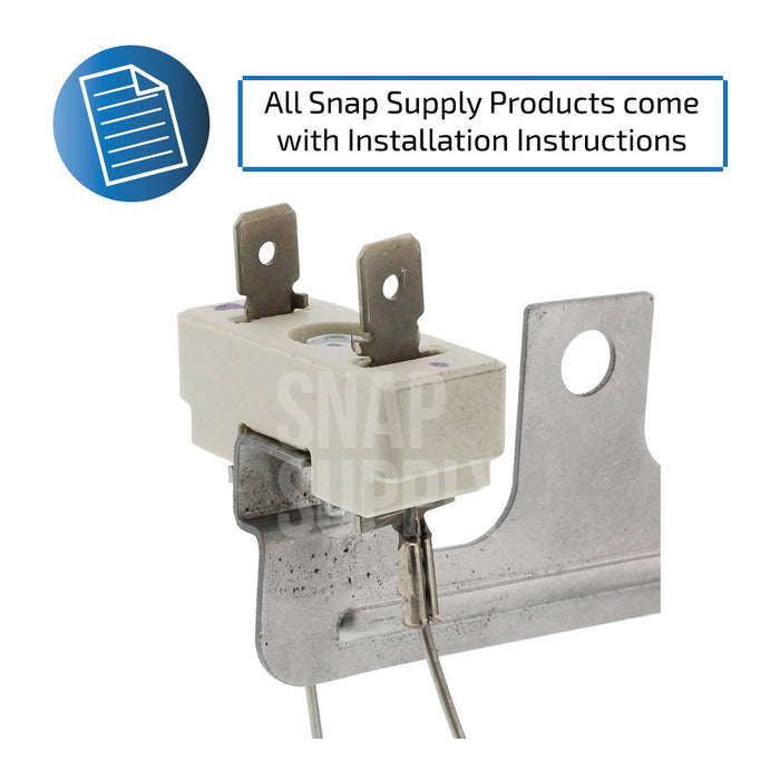 "Dryer element connection with text ""All Snap Supply products come with installation instructions."""