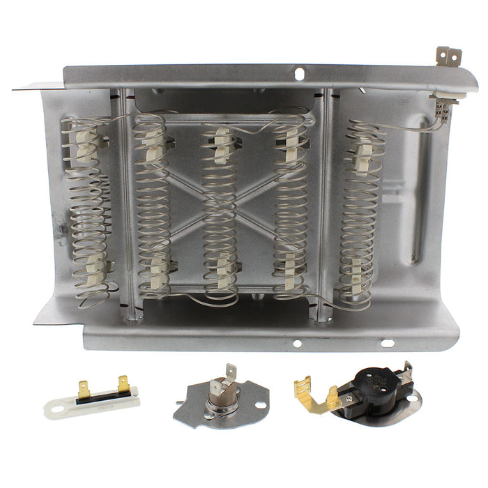 Dryer heating element and thermostat kit for Whirlpool