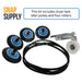 "Dryer maintenance kit with text ""This kit includes dryer belt, idler pulley and four rollers."""