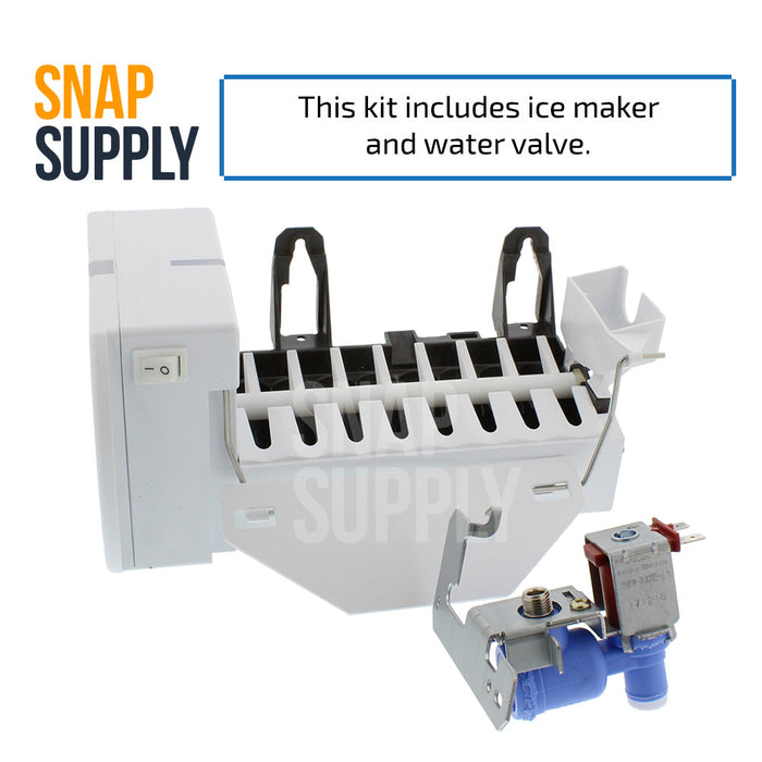 "Ice maker and water valve kit with text ""This kit includes ice maker and water valve."""