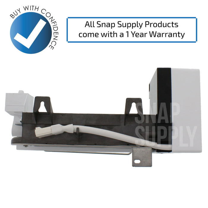 "Ice maker with text ""All Snap Supply products come with a 1 year warranty."""