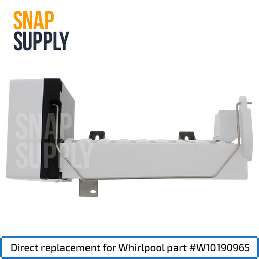 "Ice maker with text ""Direct replacement for Whirlpool part #W10190965"""