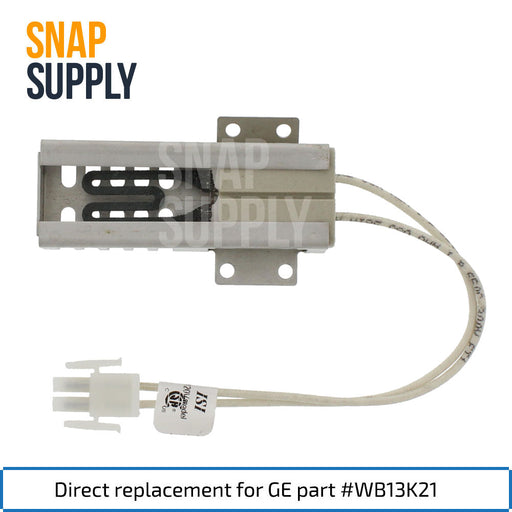 "Oven igniter with text ""Direct replacement for GE part #WB13K21"""