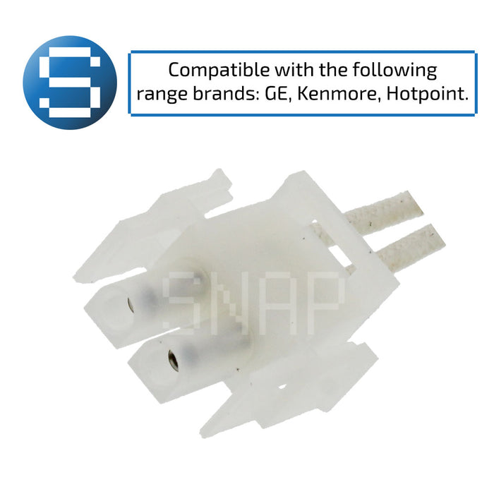 "Oven igniter with text ""compatible with the following range brands: GE, Kenmore, Hotpoint."""