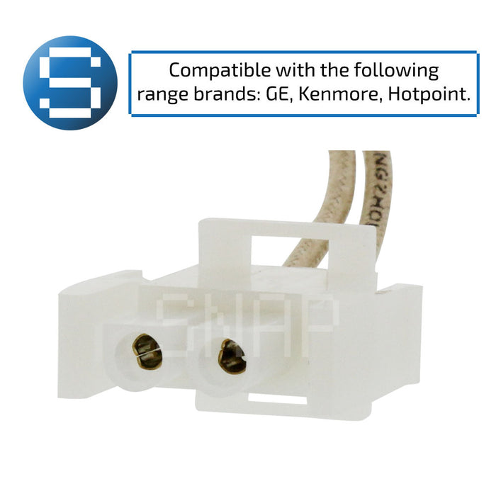 "Oven igniter component with text ""compatible with the following range brands: GE, Kenmore, Hotpoint."""