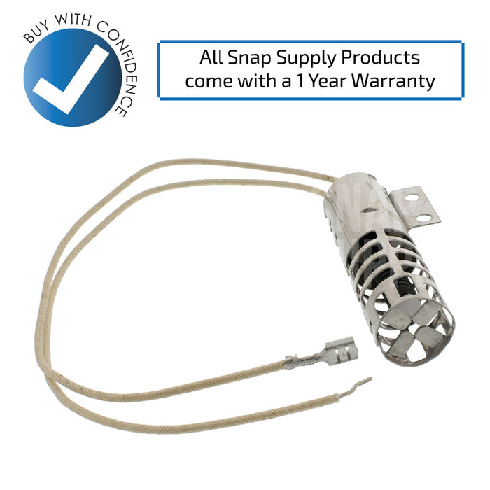 "Oven igniter with text ""All Snap Supply products come with a 1 year warranty."""