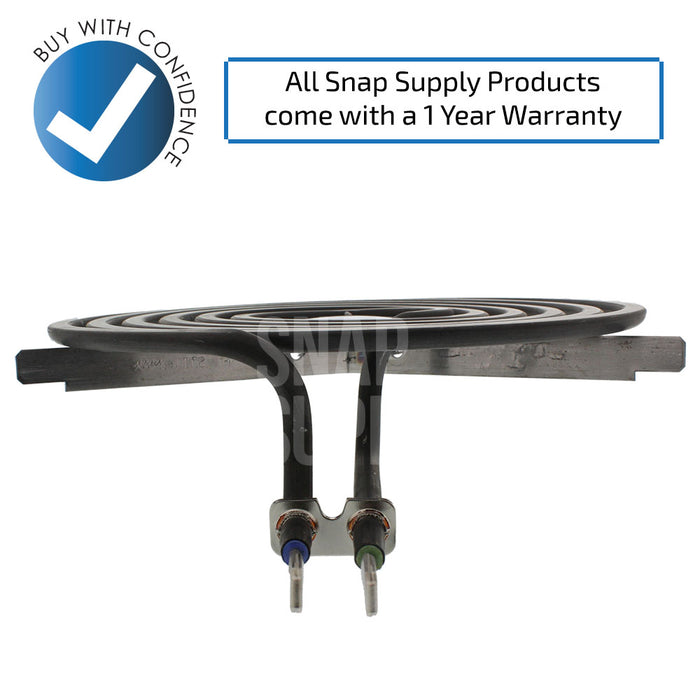 "Surface element with text ""All Snap Supply products come with a 1 year warranty."""