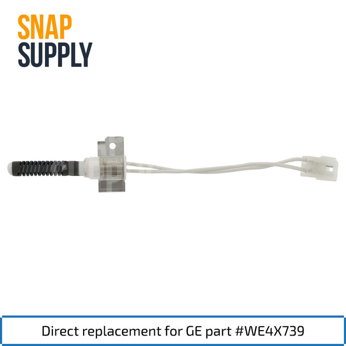"Dryer igniter with text ""Direct replacement for GE part #WE4X739."""