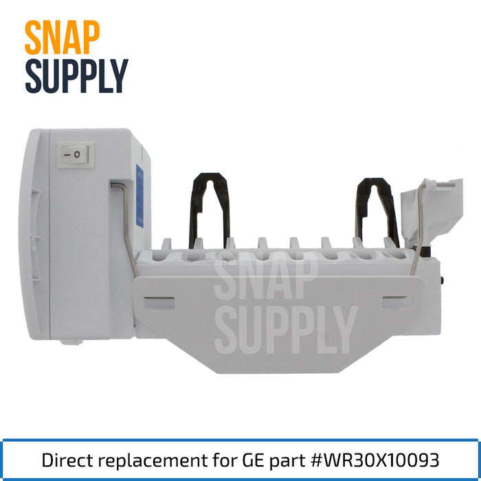 "Ice maker with text ""Direct replacement for GE part #WR30X10093"""