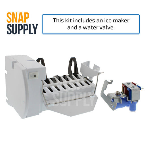 "Ice maker and water valve with text ""This kit includes an ice maker and a water valve."""