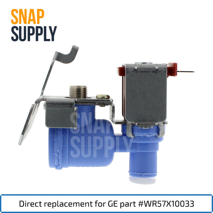 "Refrigerator water valve with text ""Direct replacement for GE part #WR57X10033"""