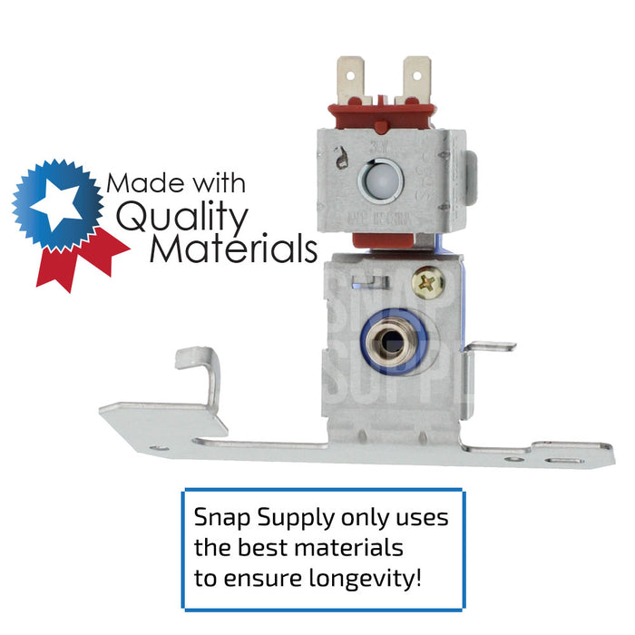 "Refrigerator water valve with text ""Snap Supply only uses the best materials to ensure longevity!"""