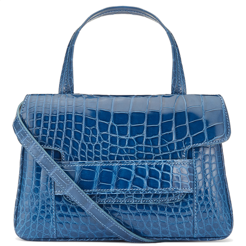 Aria blue Alligator crossbody top handle handbag