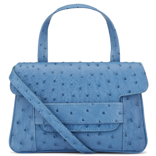 Aria blue Ostrich crossbody top handle handbag