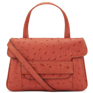 Aria terracotta Ostrich crossbody top handle handbag