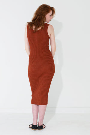 Ribbed Tank Dress Rust