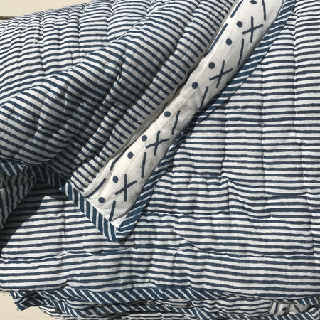Proud Mary for Tilonia® Twin Quilt in Stripes in Navy Blue
