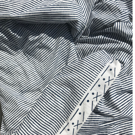 Proud Mary for Tilonia® Queen Duvet Set in Stripes in Navy Blue