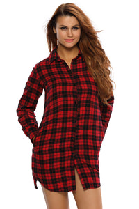 Black & Red Plaid Long Sleeves Shirt Dress