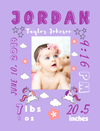 Easel Back Canvas-Flowers & Unicorn Themes for Baby's Birth