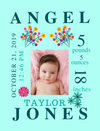 Canvas Image Wrap-Flowers & Unicorn Themes for Baby's Birth