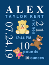 Canvas Image Wrap-Birds & Teddy Bears Themes for Baby's Birth
