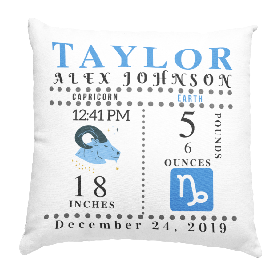 Zodiac BLUE Pillow (insert incl.) 16x16 - Family Keeps
