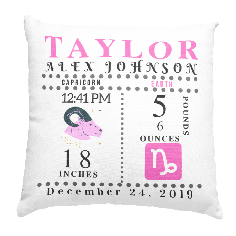 Zodiac PINK Pillow (insert incl.) 16x16 - Family Keeps